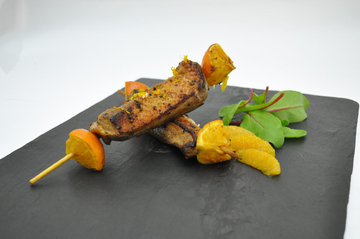 Brochettes orange et miel